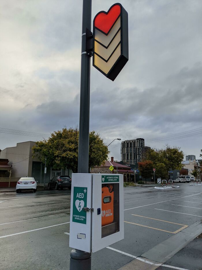 My City Has Public Defibrillation Stations And The Sign For It Looks Like A Video Game Health Bar