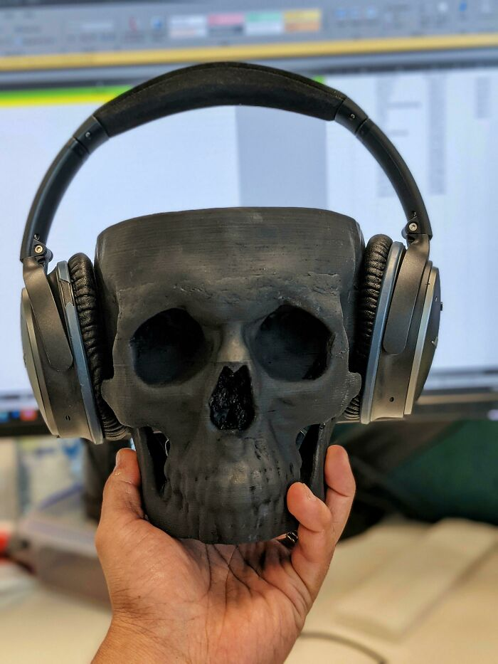 3D Printed My Skull From A Ct Scan Of My Sinuses (Hence It's Got No Top, No Data). Makes For The Perfect Headphone Holder
