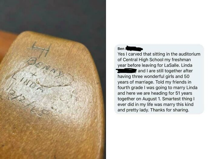 """Local Museum Posts Image Of A 1965 School Desk Inscribed With """"Benny & Linda"""". Benny Responds In Comments"""