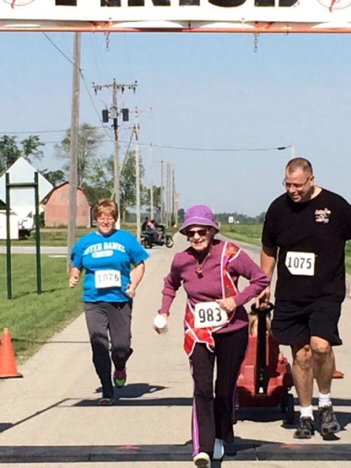 My 90 Year Old Grandma Just Ran, Not Walked, Ran Her First 5k