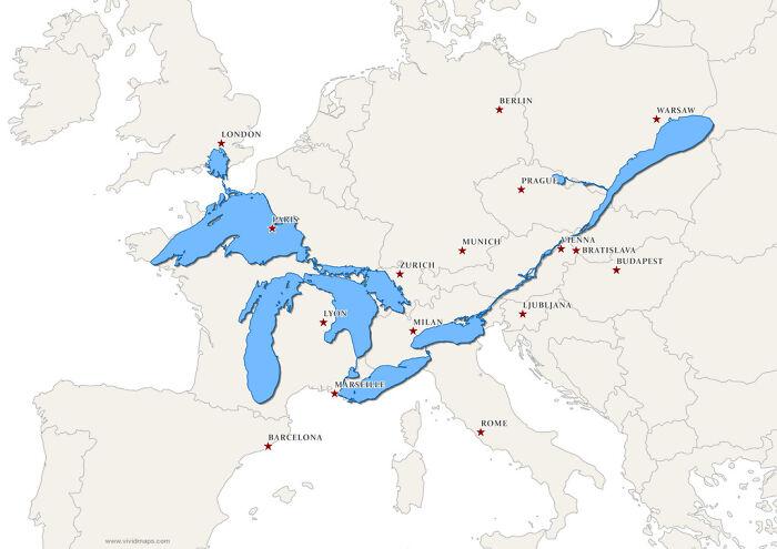 Los Grandes Lagos y el río San Lorenzo superpuestos en un mapa de Europa