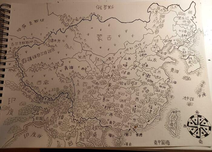 Mapa dibujado a mano de China y países vecinos con nombres de lugares en mandarín (lo dibujé como un ejercicio para memorizar todas las provincias)