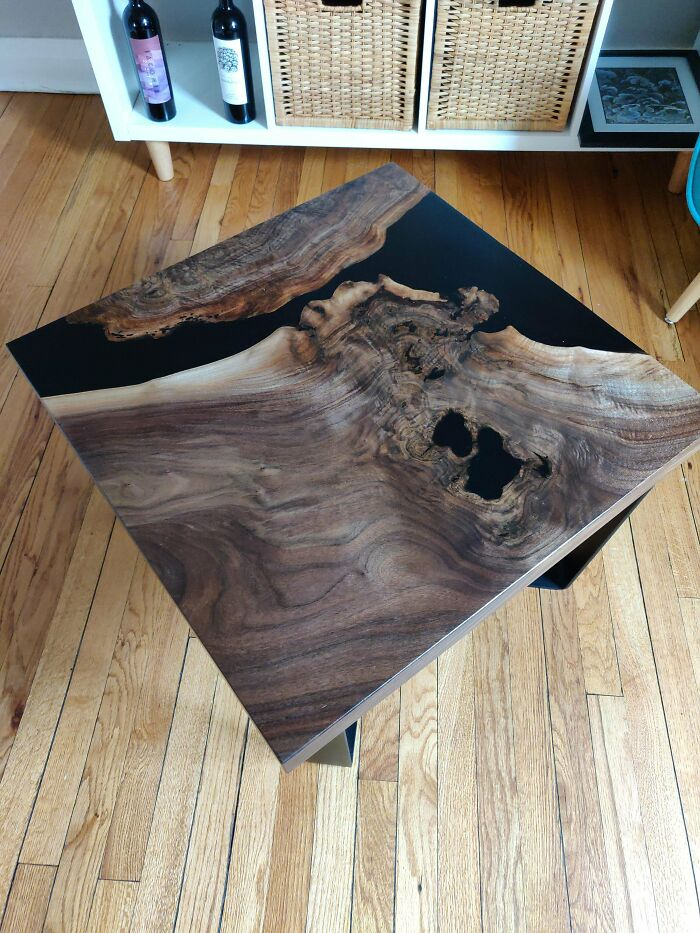 I Know Epoxy Tables Can Sometimes Get A Bad Rap, But I'm Really Proud Of How This Black Walnut & Black Epoxy Coffee Table I Made Turned Out