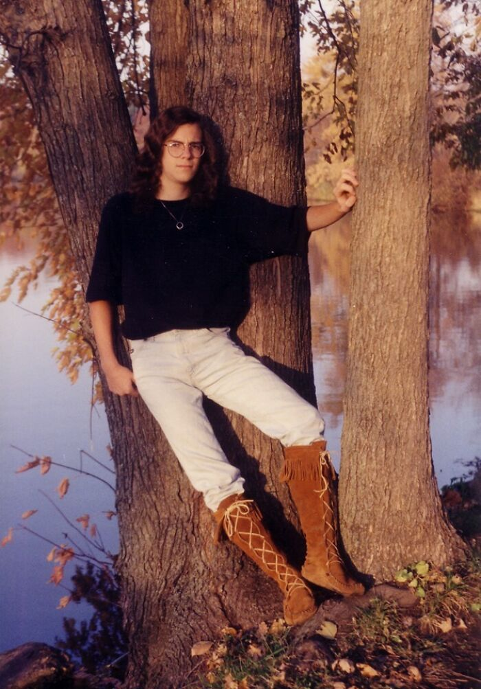 1993 Senior Pic, I Wore Those Boots To Hs The Entire Year. Iowa Winter And All
