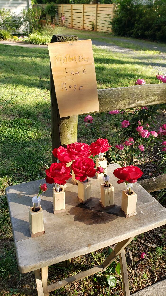 90-Year-Old Neighbor On Strict Quarantine Put Out A Table Of Roses From His Garden In Wood Vases He Made By Hand