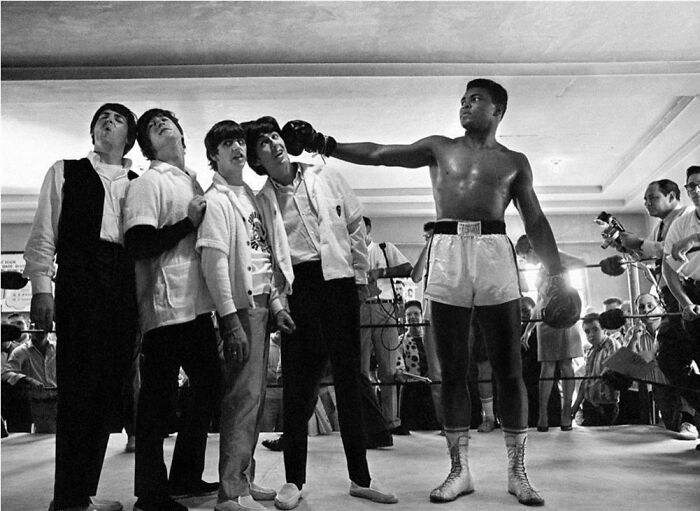 """The Beatles Pose With """"The Greatest"""", Cassius Clay (Muhammad Ali), At The Fifth Street Gym On Miami Beach, 1964"""