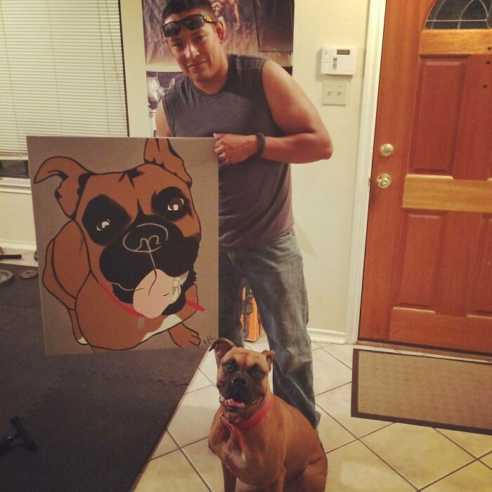 My Neighbor Painted My Dog For Me And My Brother For Absolutely No Reason. We Love It