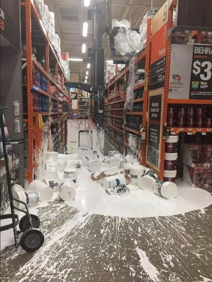 What Happens When You Put The Biggest Paint Containers On The Highest Shelf