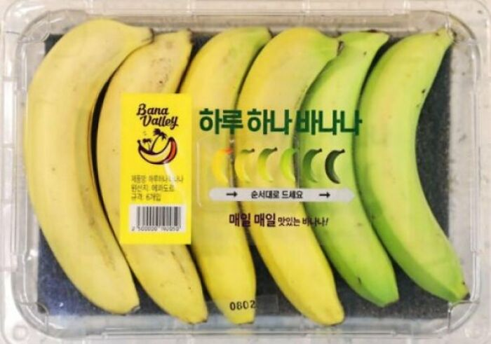 """The """"One A Day Banana"""" Pack, Containing Several Bananas Of Different Ripeness So That You Can Eat Them Over Several Days. (Korea)"""