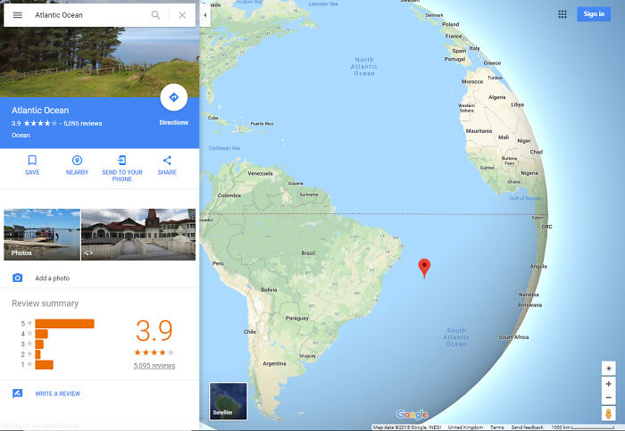The Atlantic Ocean Has Been Rated 3.9 Stars On Google Maps