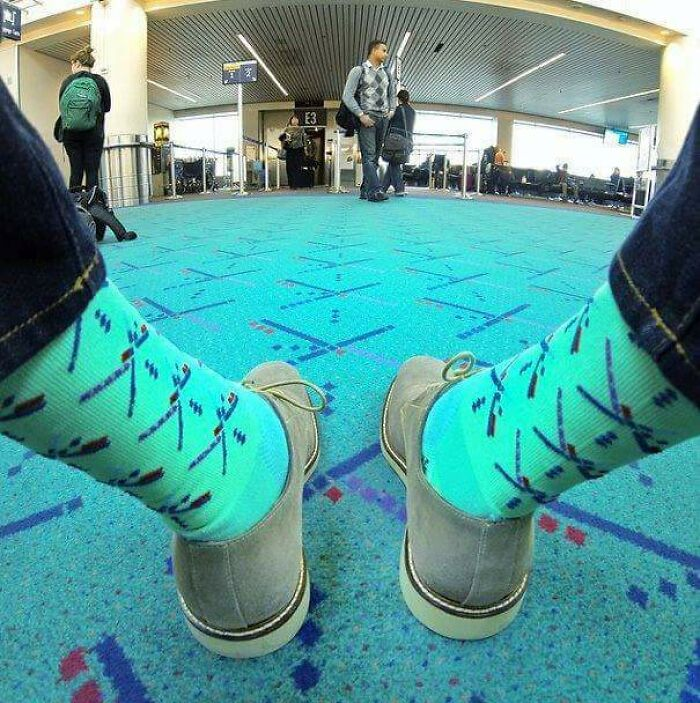 Portland Airport Sells Socks And Other Merchandise To Match It's Carpet