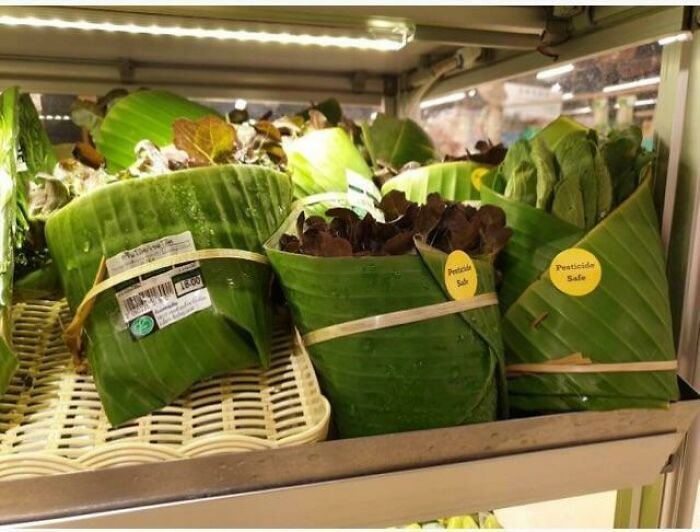 Some Grocers Are Using Banana Leaves As An Alternative Way To Package Without Plastic