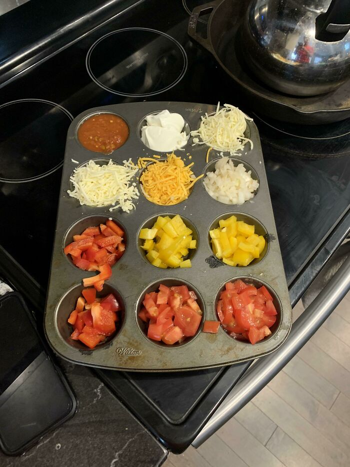 Don't Want To Mess Up 10 Bowls For Tacos? Use Muffin Tins!