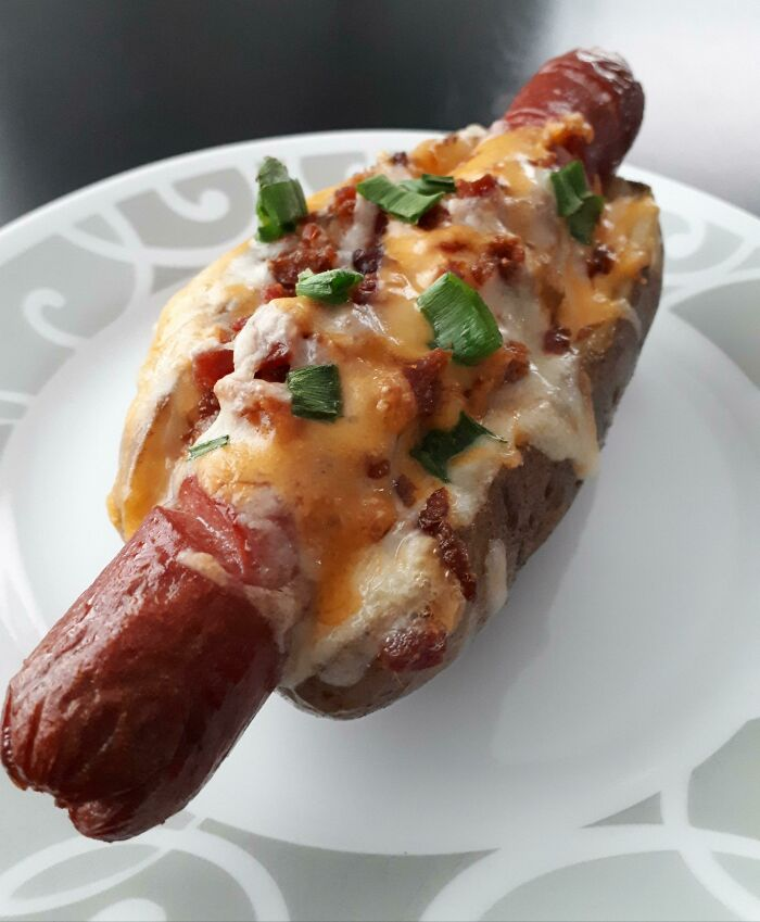 I Really Wanted A Hot Dog But Didn't Have Any Buns So I Used A Baked Potato Instead
