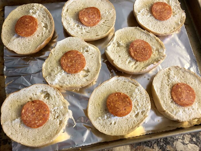 Place Pepperoni Over Bagel Holes When Making Homemade Pizza Bagels. Cheese Won't Melt And Stick To The Pan, Gives Toppings More Surface Area