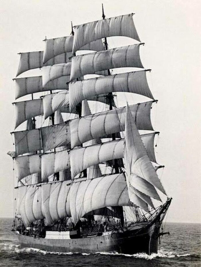 The World's Last Commercial Ocean-Going Sailing Ship - The Pamir - Rounding Cape Horn, 1949