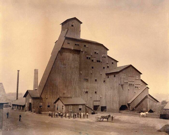 Sibley Breaker, Pennsylvania, construido en 1886 y destruido por un incendio en 1906