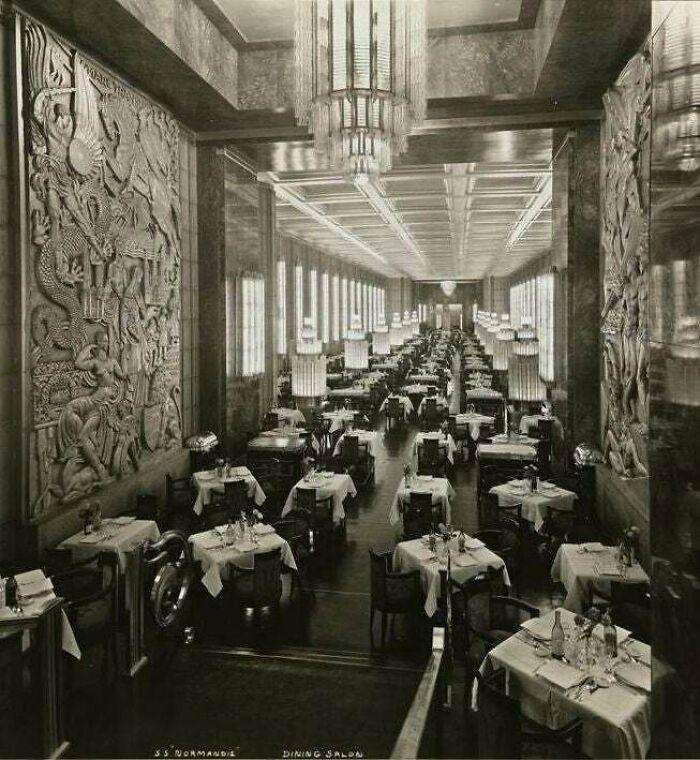 Interior del SS Normandía. 1935 -1942. Destruido en un incendio accidental durante su remodelación para el servicio militar