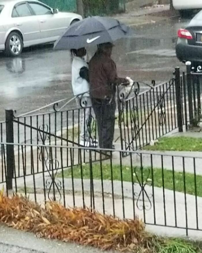 My Son Was Looking Out Of The Window And Saw My Elderly Neighbor Walking In The Rainstorm Without An Umbrella On Friday. And Walked Him All The Way Home