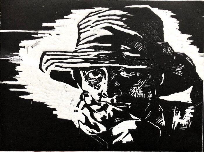 Self Portrait; Woodblock Print; @norahborialis.weebly.com
