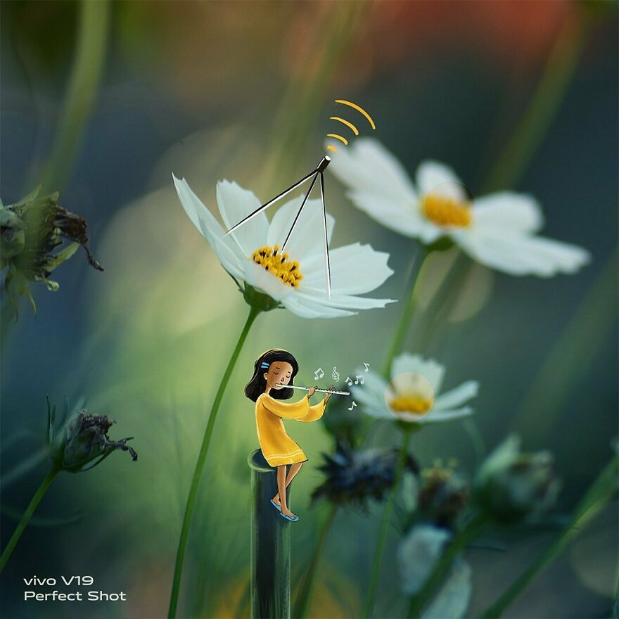 Indian Artist Creates A Little Girl To Give More Life To His Macro Photos And The Result Is Very Cute