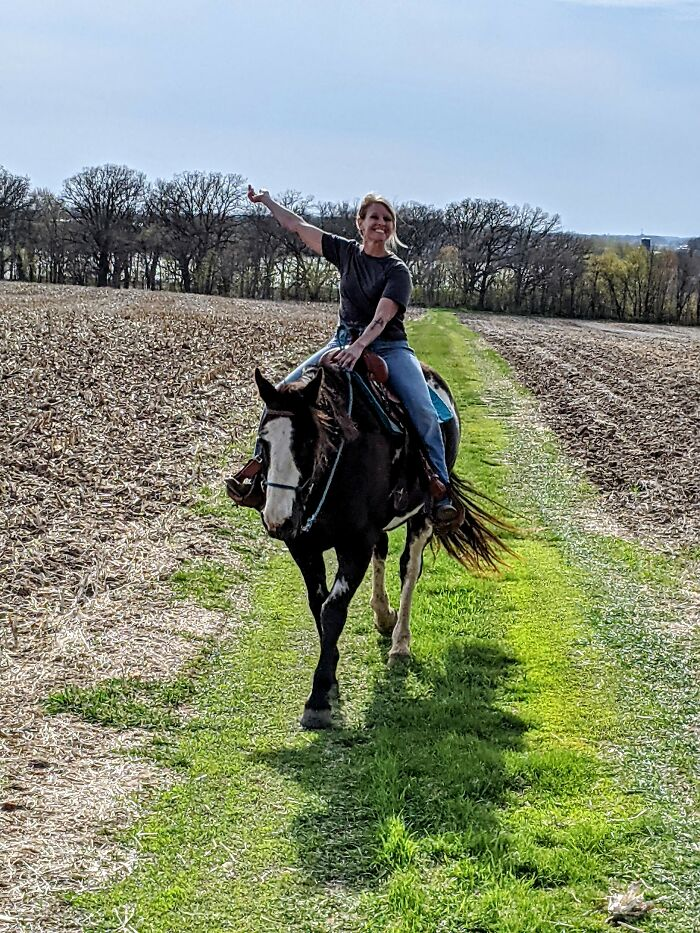 My Mom And Her Horse Jack, They Look So Happy In This Photo. This Was The First Ride Jack Had In A Year And A Half, Due To An Injury.
