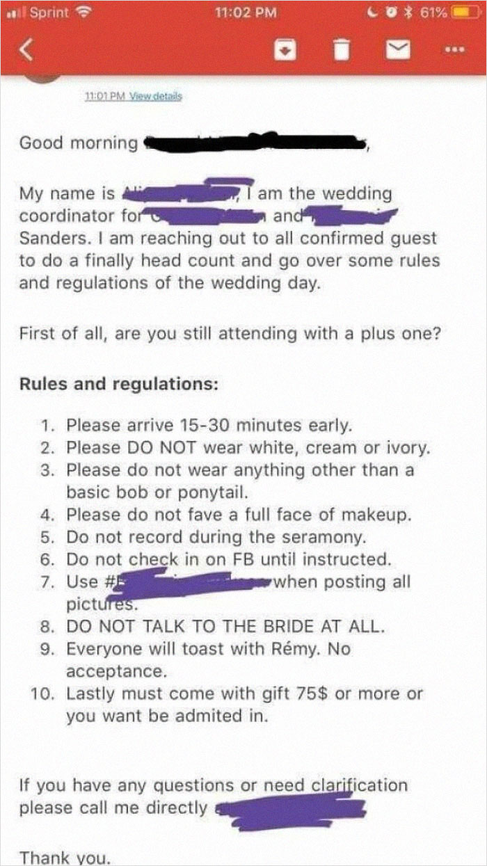 The Tackiest Wedding Rules