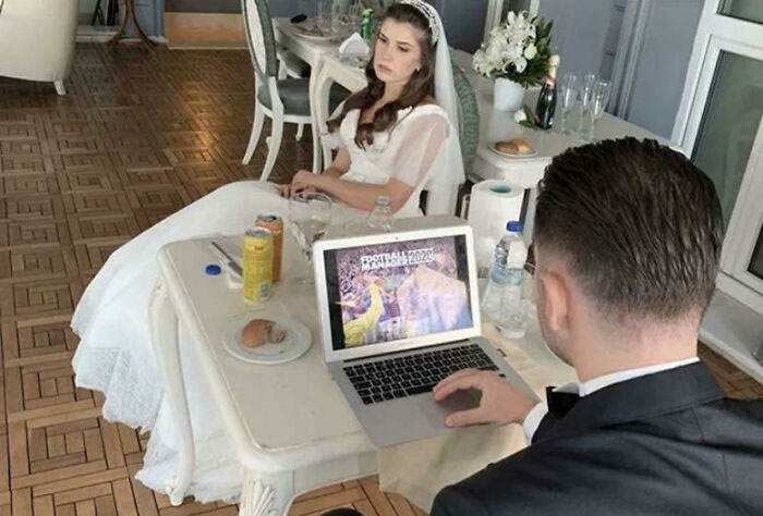 The Groom Took His Laptop To His Wedding To Play A Game On His Computer