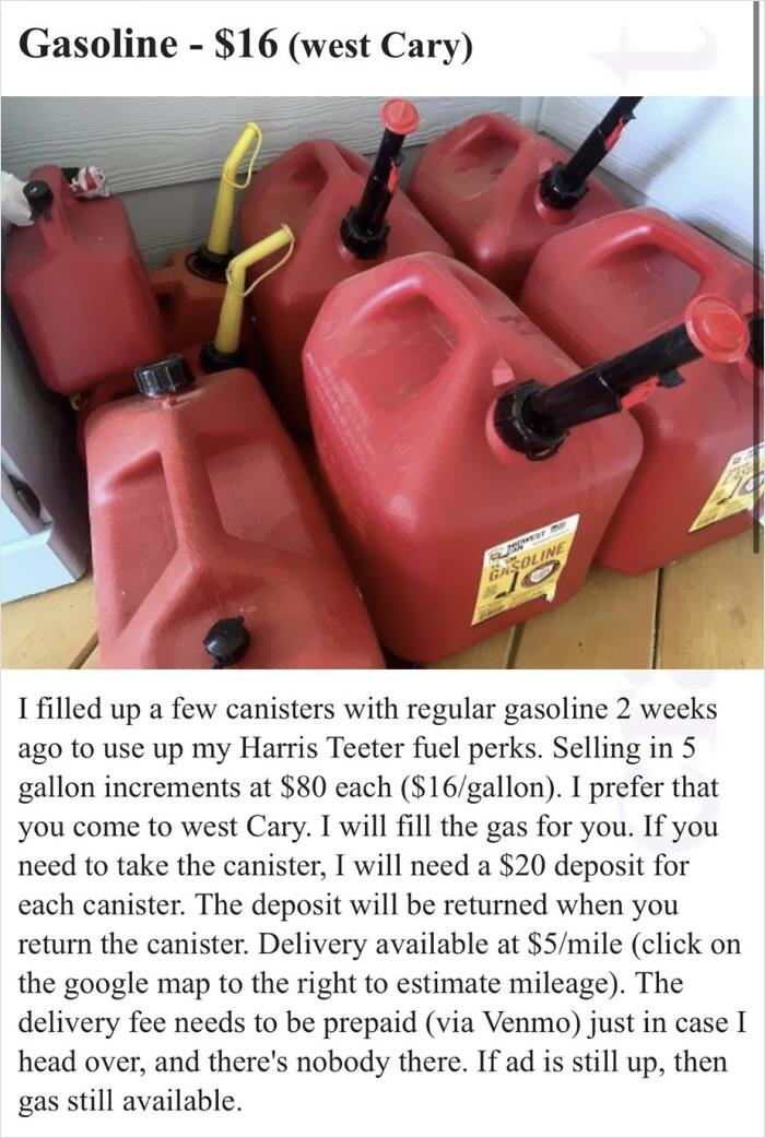 Viewing Gas Shortages As An Opportunity To Sell Gas For $16/Gallon (Nc).