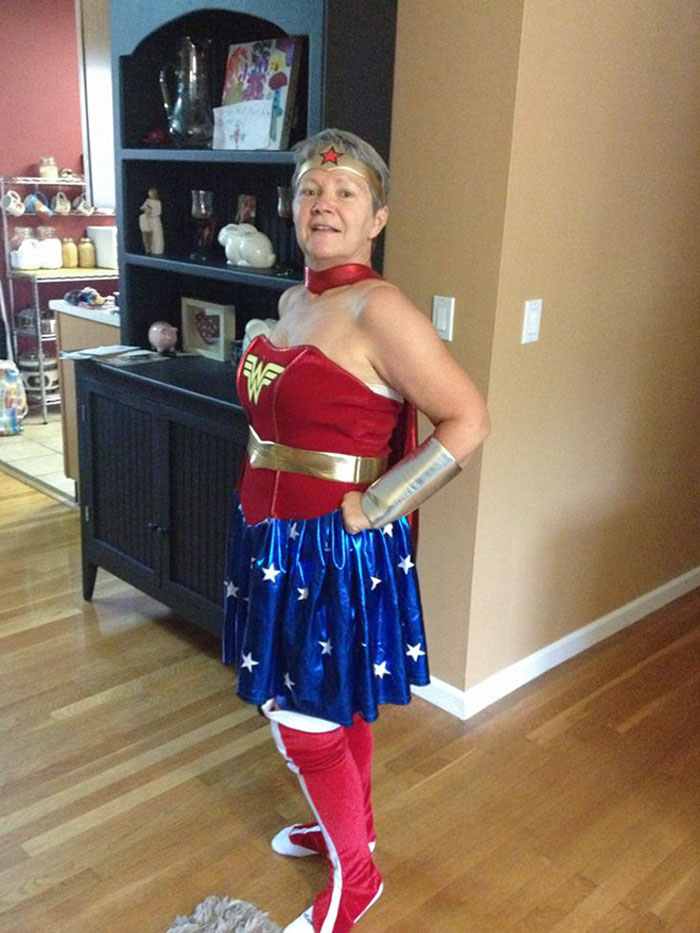 I Ordered A Wonder Woman Costume Online. It Was A Little Big For Me When It Arrived And My Grandmother Said She Wanted To Try It On. This Is The Fabulous Result