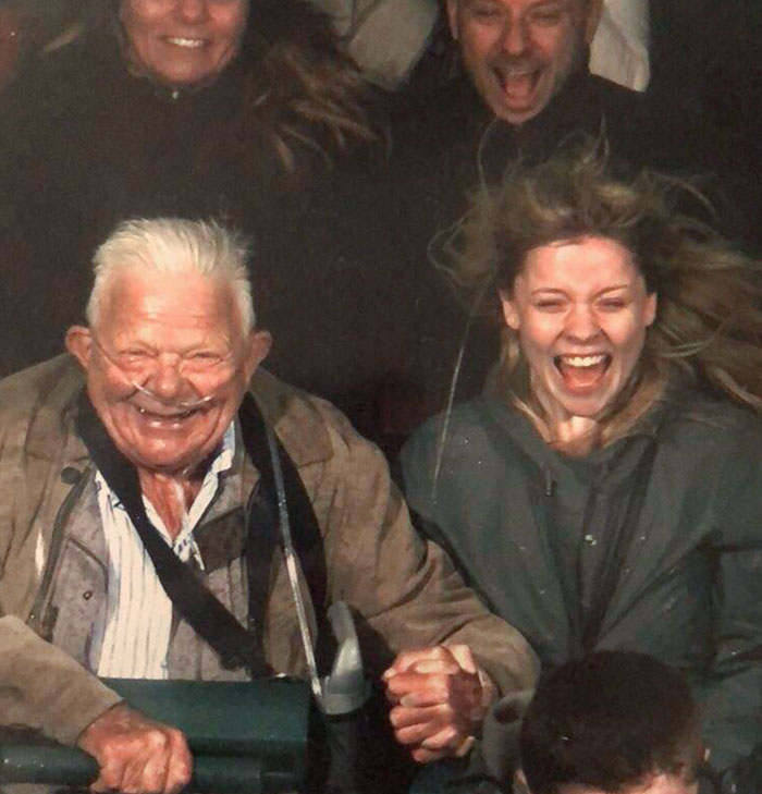 My 74-Year-Old Grandpa With COPD And I On A Roller Coaster. He Was So Excited