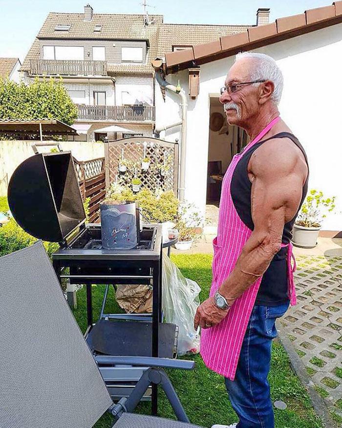 74-Year-Old Grandpa Doing Some BBQ, Enjoying Life