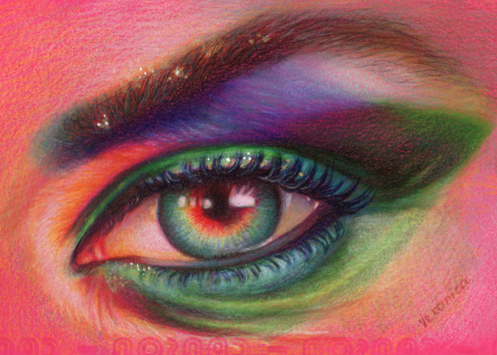 How I Draw An Eye In Colored Pencils On Colored Paper