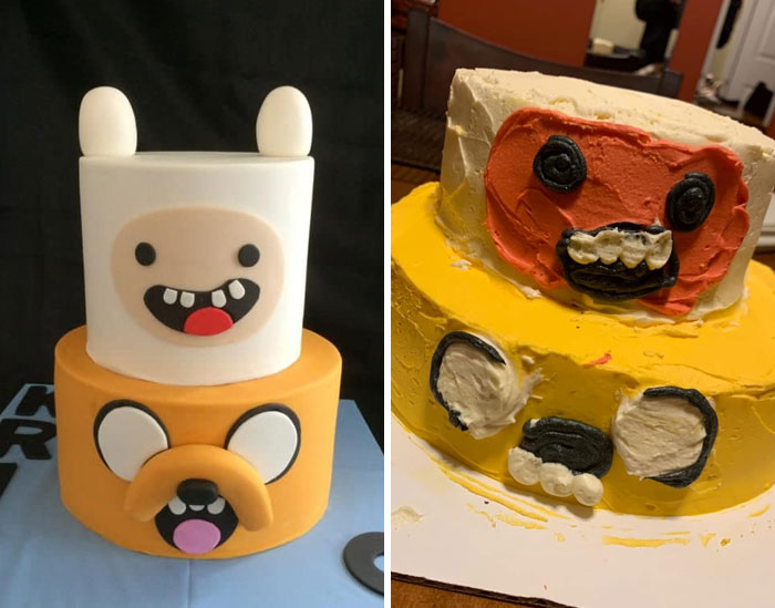 My Mom And The Cake She Made For My Sister's 21st Birthday.... It Was Supposed To Look Like The One On The Left