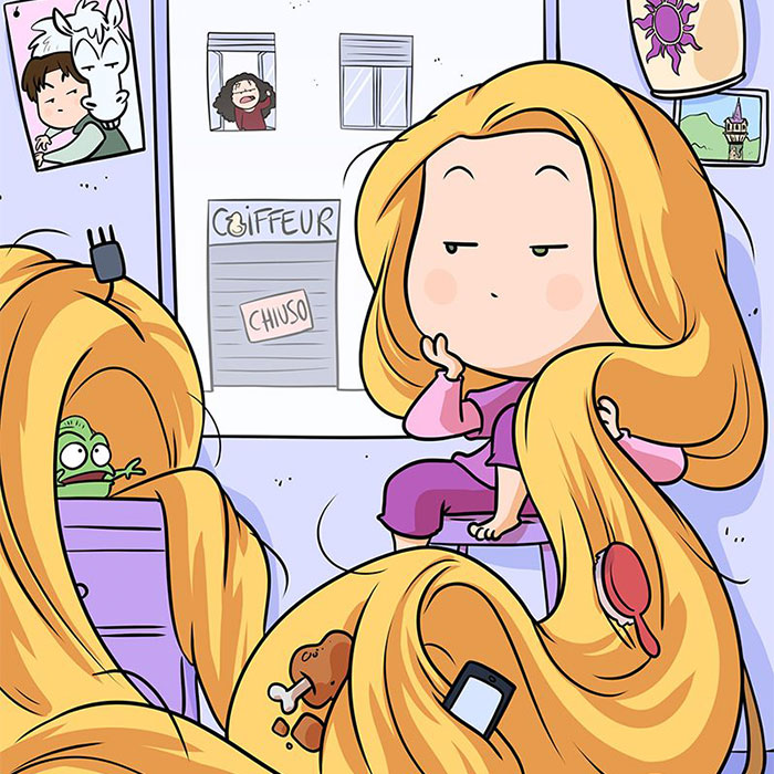 Artists Show How Rapunzel, Ariel And Other Disney Princesses Spent Their Time In Quarantine (15 Pics)