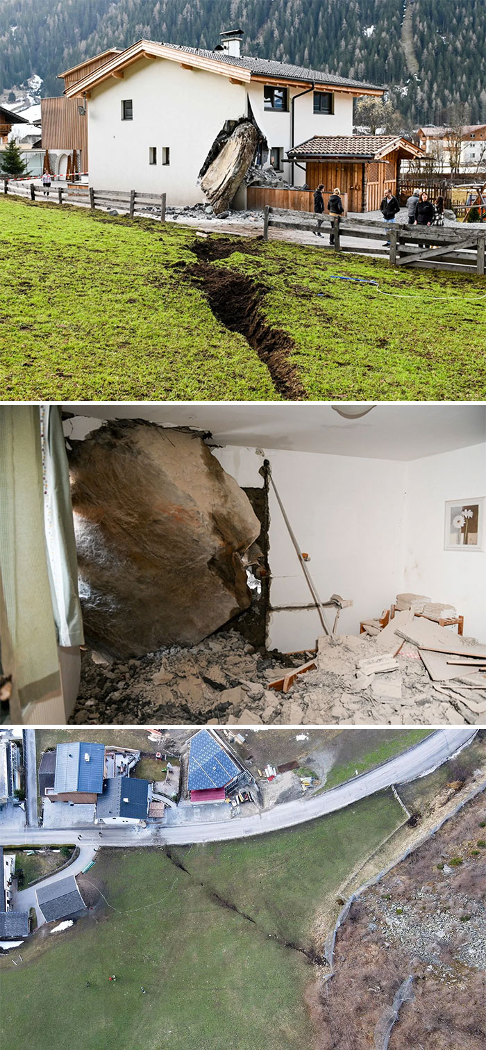 A Huge Boulder Crashed Into A House In Tyrol, Austria Today. Luckily, No One Was Injured
