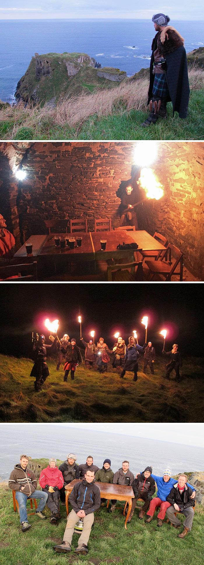 Mis locos amigos escoceses organizaron una despedida de soltero sorpresa a su amigo. Un festín vikingo en un castillo escocés en ruinas