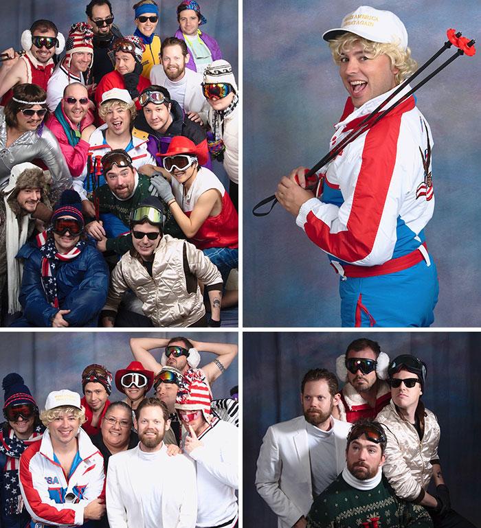 Nos tomamos otra foto de grupo en JCPenny para la re-despedida de soltero de mi amigo. El tema de este año: Películas cutres de esquí