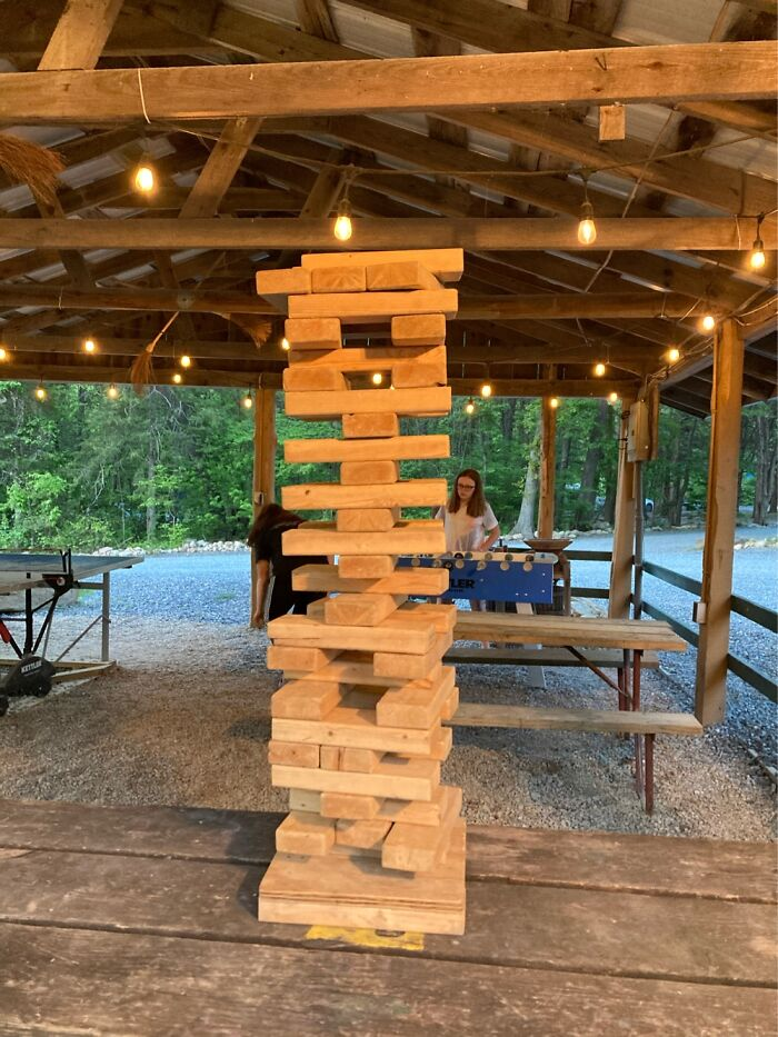 Me And My Friends Made A Giant Jenna Tower ( Not My Friend In The Background)