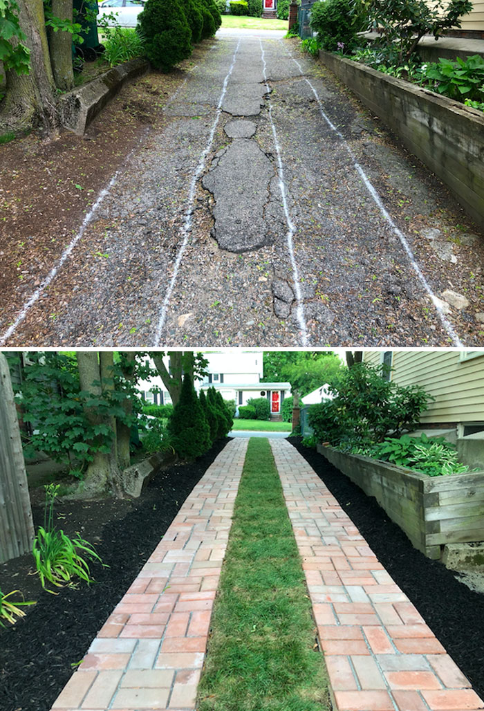 Before And After Of My DIY Driveway. I Made The Paving Stones And The Driveway