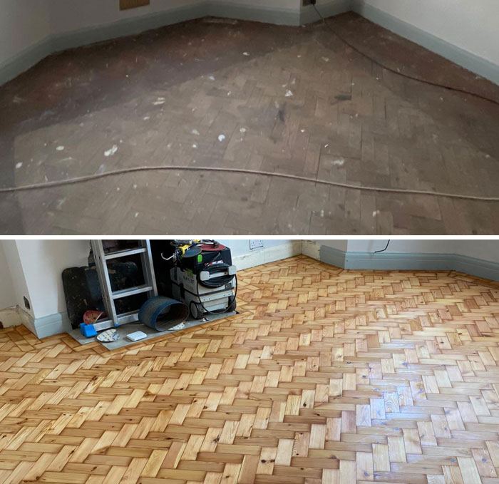 1930's Parquet Flooring Restored Today. Before And After Comparison