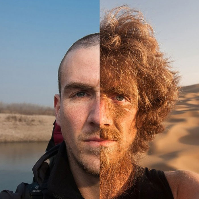 Before And After Of A Man Who Walked Across China For A Year