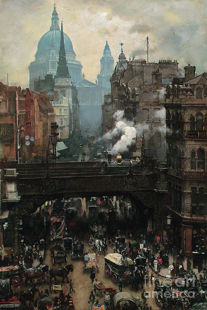 Ludgate Hill, Londres. Finales del siglo XIX. Bombardeado en la Segunda Guerra Mundial, sustituido por una arquitectura moderna.