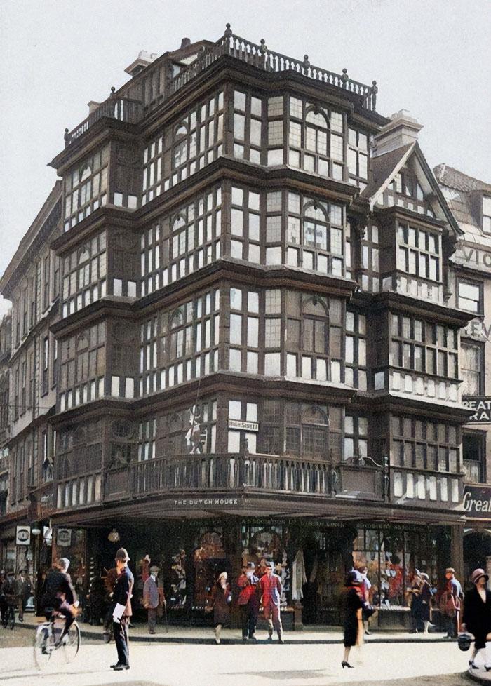 La antigua casa holandesa de Bristol, Inglaterra. Se construyó en 1676, pero fue destruida durante el bombardeo de Bristol de 1940 por la Luftwaffe.