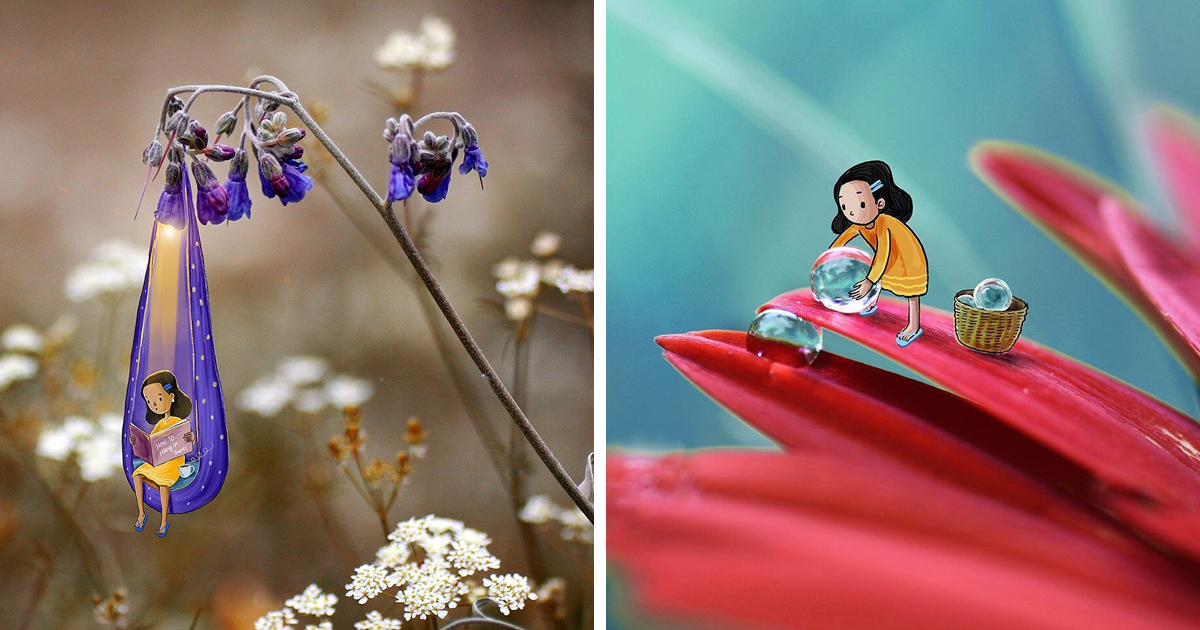 Indian Artist Creates A Little Girl Character To Liven Up His Macro Photos (17 Pics)