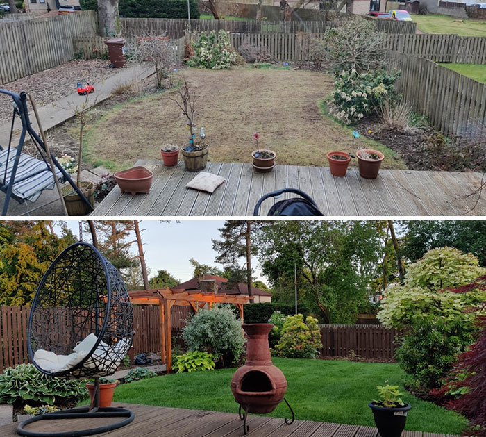 New Home With A Neglected Garden vs. 3 Months Later With A Lot Of Hard Work