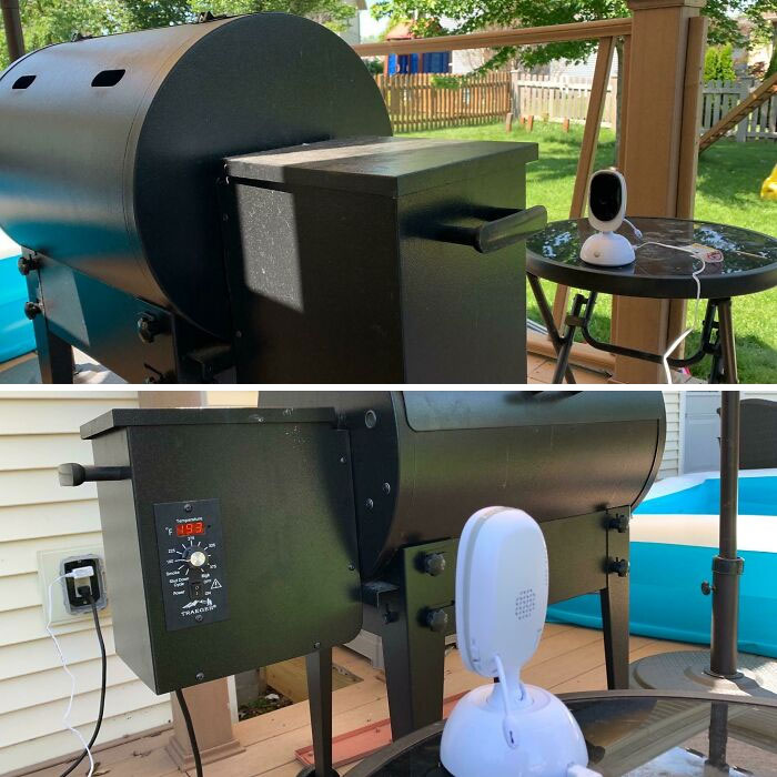 My Husband Is Using Our Baby Monitor To Keep An Eye On The Temperature Of His Smoker While He Works