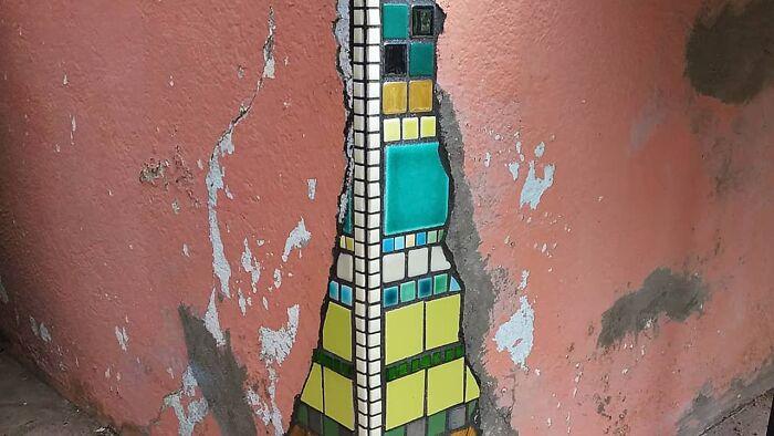 Artist Uses Ceramic Mosaics To Mend Sidewalks, Potholes, And Buildings In Lyon (70 Pics)