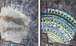 Artist Uses Ceramic Mosaics To Mend Sidewalks, Potholes, And Buildings In Lyon (70 Pics)