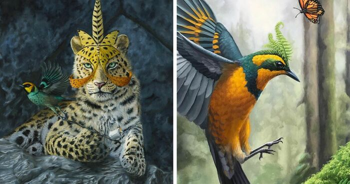 72 Surrealistic Oil Paintings That Capture The Fierce Beauty Of Wildlife By Jon Ching